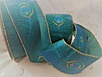 PERFECT PEACOCK blue green gold glitter - Luxury Wire Edged Ribbon **NEW 2019**