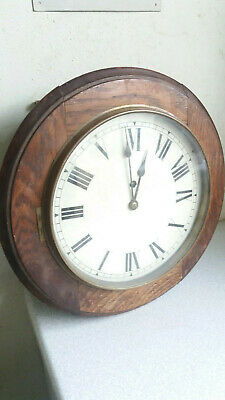 Antique School / Station Wooden Wall Clock -  15 Inch Diameter