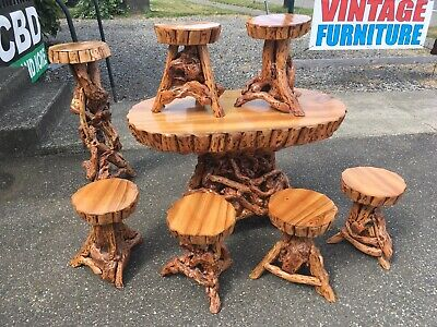 8 Pc Antique Vintage Chinese Tea Table Chairs Stools Cypress Log Twig Burl Wood