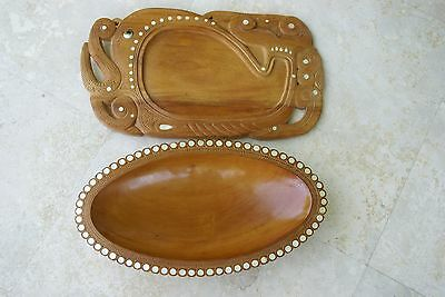 2 Hand carved Bowls Mother pearl Melanesia Trobriand Rare Oceanic Art 2A257,55A