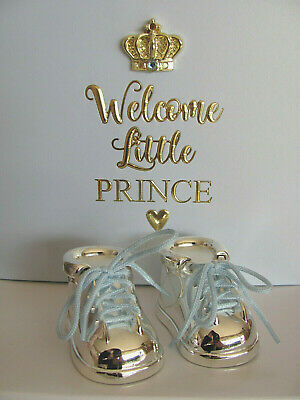 Silver Plated Baby Boy Booties 1st Tooth & 1st Curl ~ Keepsake ~ Christening