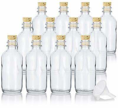 2 oz Clear Glass Boston Round Bottle with Cork Stopper Closure (12 Pack) +