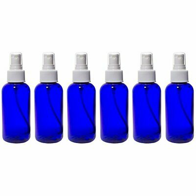 Cobalt Blue 4 oz Boston Round PET (BPA Free) with White Fine Mist Sprayer (6
