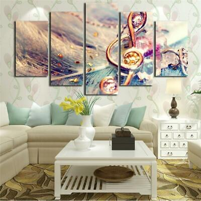 Golden Music Key Feather Poster Canvas Wall Decor Home Decor Canvas Print