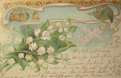 """"""" Pigeons, Bird, Lily of the Valley """" 1902, Embossed Postcard (27294)"""
