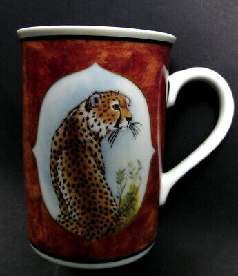 Lynn Chase Designs CHEETAH Mug~African Portraits~24 Karat Gold~Bird Inside~1995