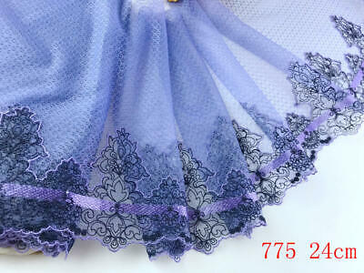 "9""*1yard Delicate Purple Embroidered flower tulle Lace Trim DIY Craft sewing 775"
