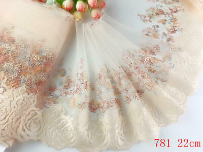 "9""*1yard Delicate  Embroidered flower tulle Lace Trim DIY Craft sewing 781"