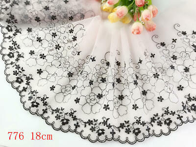 """7""""*1yard Delicate Embroidered flower Light Pink tulle Lace Trim Diy Craft 776"""