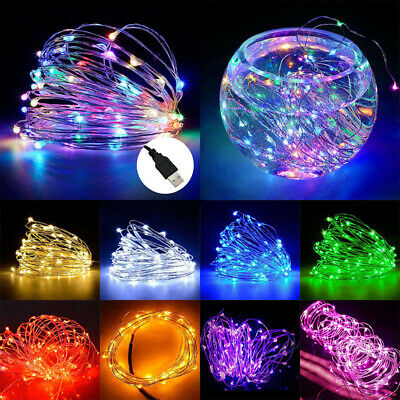 USB Plug In 50/100/200 LED Copper Silver Wire Fairy String Lights Party Decor UK