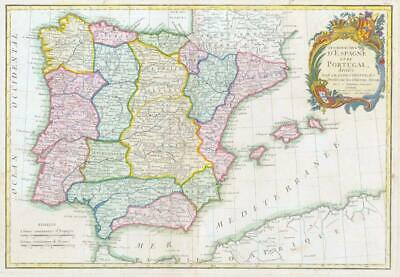 1771 Decorative Antique Map of SPAIN & PORTUGAL Iberian Peninsula by Janvier BLM