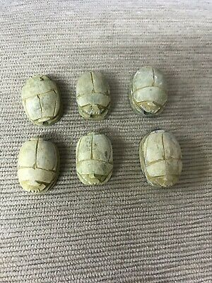 six ( 6 )  Egyptian Carved Stone Faience Scarab Beads Pendants or Beads