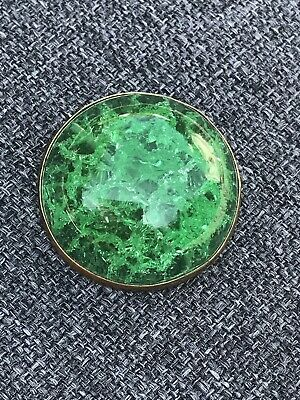 Antique Victorian Crackled Green Emerald Glass Brooch Pin In Brass 3,5cm