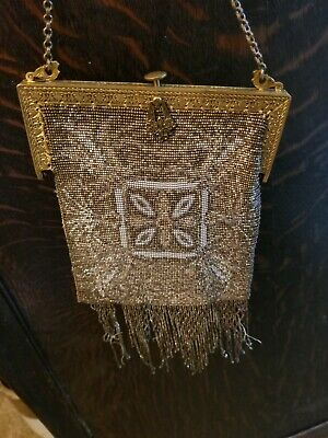 ANTIQUE VTG ART VICTORIAN PURSE FRENCH CUT BEADS FRANCE  BLACK & GOLD 1920's