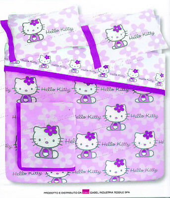 Trapuntino Matrimoniale Hello Kitty Flowers Lilla Gabel