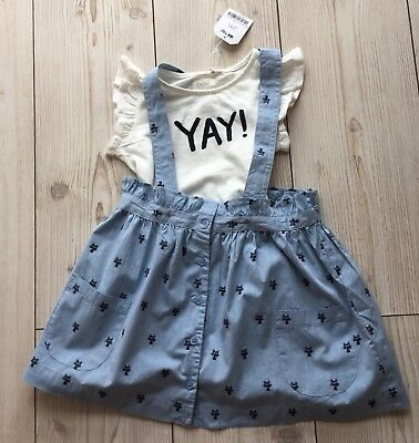 New NEXT Outfit Set T-shirt And Skirt With Braces Age 4-5 Years Girl