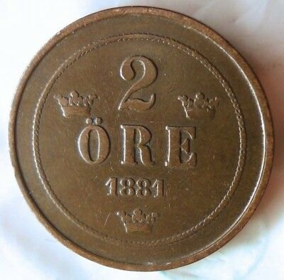 1881 SWEDEN 2 ORE - High Quality Collectible Coin Sweden BIN #3