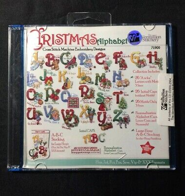 Christmas Alphabet Embroidery Designs on CD from the Vermillion Stitchery 71900