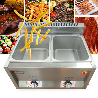 2 Pan Food Warmer Gas Steam Table Commercial Kitchen Steamer 50 ~ 380 ° C 6L/pan