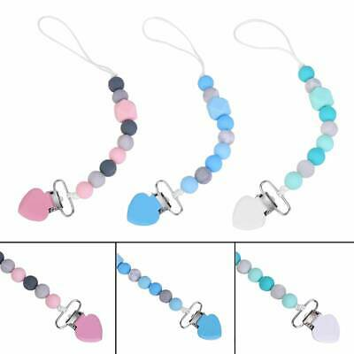 Baby Dummy Clip Holder Pacifier Clips Teething Silicone Beads Soother Chains 91