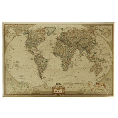 Retro Wall Picture World Map Antique Poster Art Educational School Home Decor