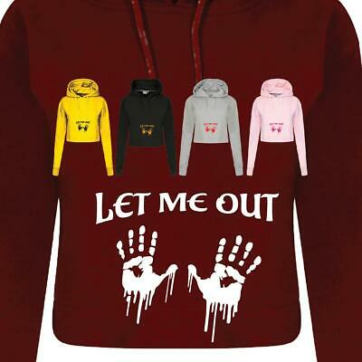Maternity Pregnant Let Me Out Women Ladies Funny Crop Hoodie Costume GIFT Dress