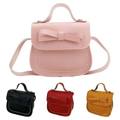 AM_ Children Girls Bow Solid Color Faux Leather Tote Crossbody Shoulder Bag Cosy