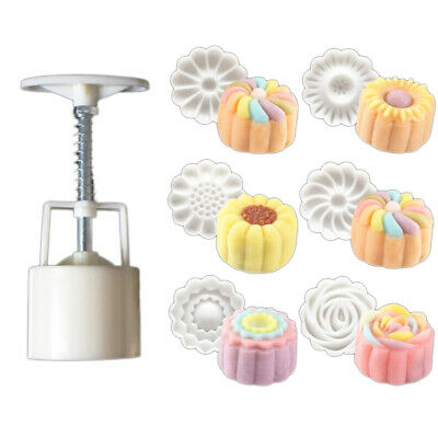 6 Style Stamps 50g Round Flower Moon Cake Mold Mooncake Decor Cookie Cutter