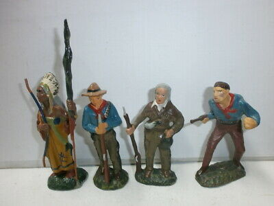 Konvolut 4 Lineol Wildwest Figuren Cowboys Indianer zu 7.5cm