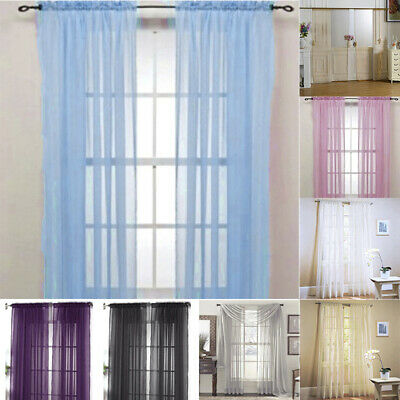 1Pair (2 Panels) Of Lucy Voile Slot Tops Panels -Top Quality Net Voile Curtains
