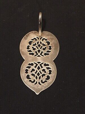 Sterling Silver Antique Cake Server Ornate Slotted Flat Maker Mark Ring Handle