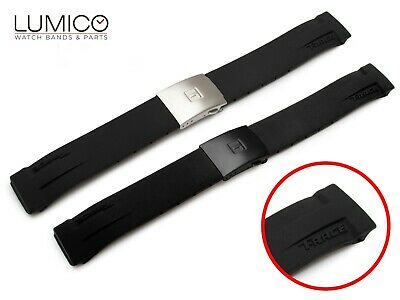 For T-RACE watch fits TISSOT 21mm Rubber Silicone Strap Band Clasp Buckle BLACK
