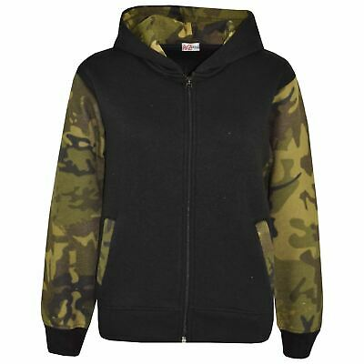 Kids Boys Girls Jackets Fleece Camouflage Green Hooded Hoodie Zipped Jacket 5-13