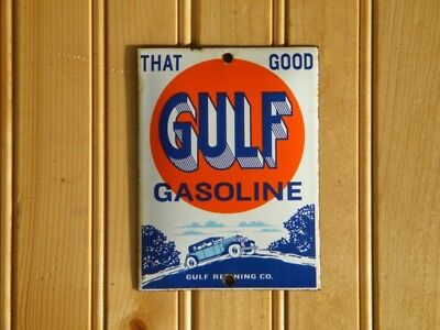 "GULF GASOLINE OLD PORCELAIN SIGN ~4-3/4"" x 3-1/2"" OIL PUMP STATION LUBE GARAGE"