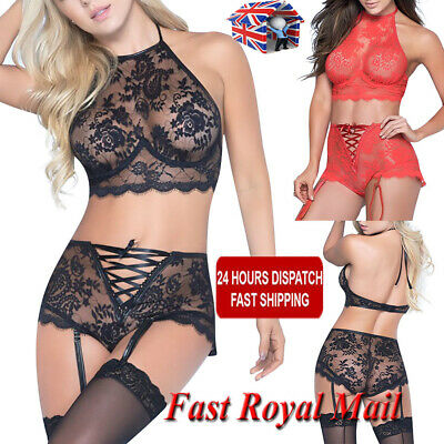 Women Sexy Lingerie Body Lace Mesh Nightwear Ladies Babydoll Sleepwear Thong Set