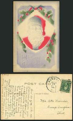 Father Christmas SANTA CLAUS 1913 Old Embossed Postcard