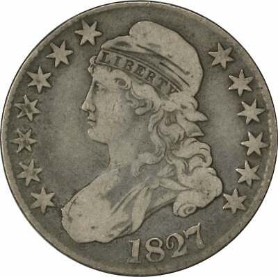 1827 Bust Half Dollar, Square Base 2, F, Uncertified