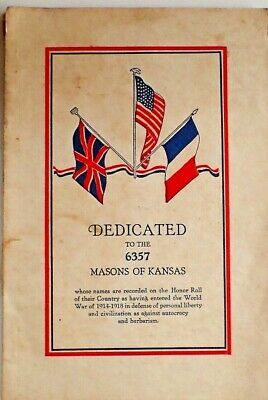 80 Page Book Honoring Masons of Kansas Who Served in WWI - ALL NAMES IN LISTING!