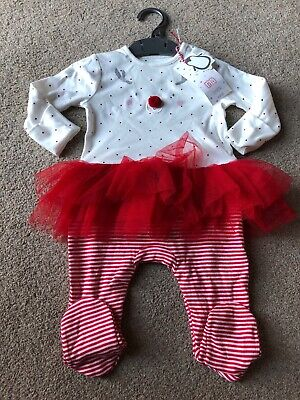 Mothercare Christmas Reindeer All In One Baby Girls Tutu Pom Pom 3-6 Months