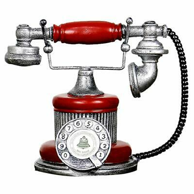 Retro Red Phone Prop Rotary Dial Vintage Desk Telephone Corded Collectors Gifts