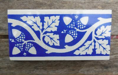 "Antique Minton Blue & White Acorn Oak A W N Pugin 3"" x 6"" Tile"