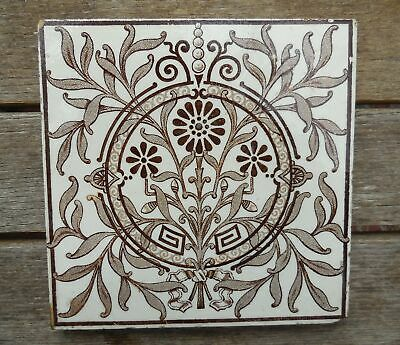 """Antique Stylised Floral Cream & Brown Print 6"""" X 6"""" Tile"""