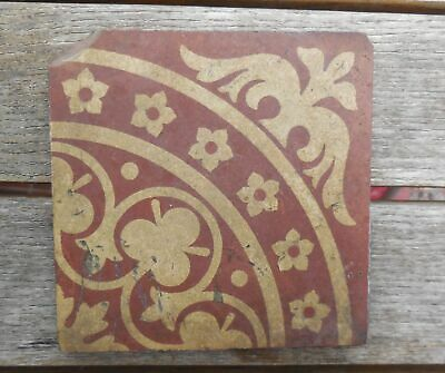 "Antique W Godwin Lugwardine Hereford Encaustic Tile 4'6"" x 4'6"" Tile (5)"