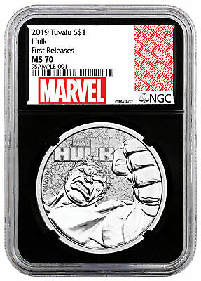 2019 Tuvalu Hulk 1 oz Silver Marvel Series $1 NGC MS70 FR Black Core SKU59126