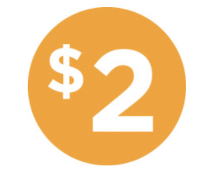 """Two Dollar $2 Icon Price Labels 1000 each per roll size 1"""" Round Oval STICKERS"""