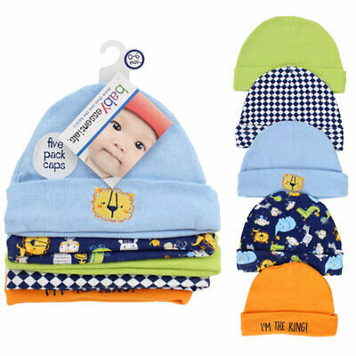 5 PACK Baby Infant Assorted Caps Hats Set 100% COTTON 0-6 Mo Boys Blue NEW