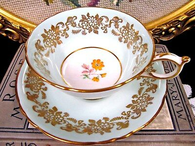 PARAGON tea cup and saucer baby blue & gold gilt work wide teacup pattern floral