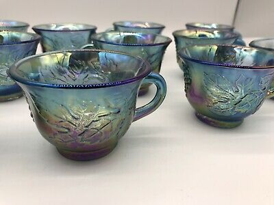 """Set of 11 Northwood GRAPE & CABLE Purple Carnival Glass 3¼"""" x 2½ Punch Cups."""