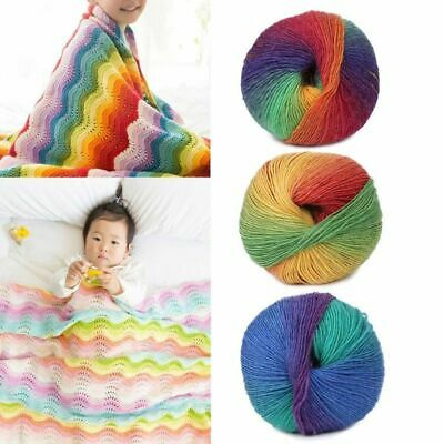 Cotton Cashmere Crochet Wool Blend Rainbow Colorful Yarn Knitting Hand-woven