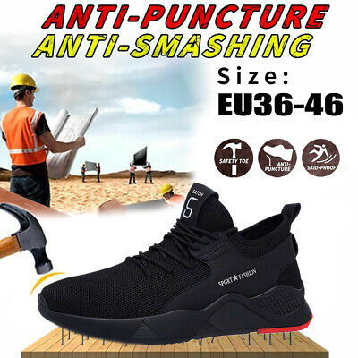 Mens Women Safety Shoes Trainers Steel Toe Work Boots Sports Hiking Sneakers UK